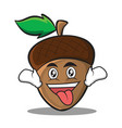 crazy acorn cartoon character style vector image vector image