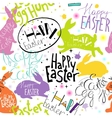 Easter pattern with lettering and bunnies vector image