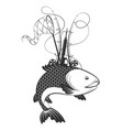 fish and fishing equipment vector image vector image