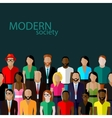 flat of society members with a large group of men vector image vector image