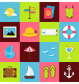 Flat Summer Travel Objects Set vector image vector image
