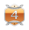 Four years anniversary celebration silver logo vector image vector image