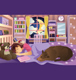 girl sleeping in her room with her dog vector image