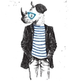 Hand drawn dressed up rhino in hipster style vector image vector image
