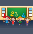happy children and numbers in classroom vector image vector image