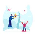 happy family father and little son hanging vector image vector image