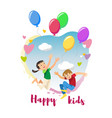 happy kids rejoice holiday cartoon concept vector image
