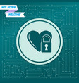 heart lock icon on a green background with arrows vector image vector image