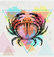 hipster realistic crab on artistic background vector image vector image