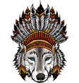 indian wolf with feathers hat vector image vector image