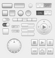 interface buttons set push buttons media buttons vector image vector image