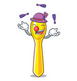 juggling plastic kitchen spoon isolated on mascot vector image vector image