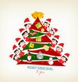 kids peeping behind christmas tree vector image