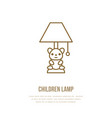 kids table lamp flat line icon home lighting vector image