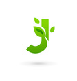 Letter J eco leaves logo icon design template vector image vector image