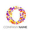 letter o logo with purple yellow red particles vector image vector image