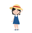 little girl with hat cartoon character vector image vector image