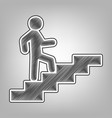man on stairs going up pencil sketch vector image vector image