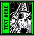 military skull holding a gun hand drawing skull vector image vector image