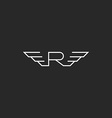 Monogra letter R logo wings flying abstract vector image vector image