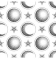 moon half moon and star seamless pattern vector image