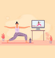 online yoga class woman meditation and do fitness vector image vector image