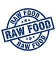 raw food blue round grunge stamp vector image vector image