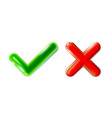 realistic green checkmark and red crosshair icon vector image vector image