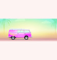 retro bus with surfboard pink beach van vector image