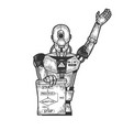 robot with algorithm poster sketch engraving vector image vector image