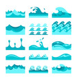 seamless blue water wave tiles set for patterns vector image