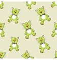 Seamless pattern with green cat vector image