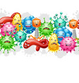 seamless pattern with little angry viruses vector image vector image