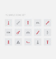 set of 15 editable tools outline icons includes vector image vector image