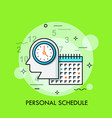 silhouette of human head with watch and calendar vector image vector image