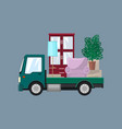 small truck with furniture on a gray background vector image vector image