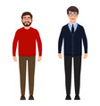 two men are standing a bearded man in a red vector image