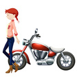Woman and vintage motocycle vector image