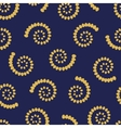 Yellow swirls on blue background seamless pattern vector image vector image