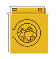 yellow watercolor silhouette of washing machine vector image vector image