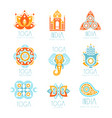 yoga studio labels set stylized famous spiritual vector image