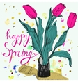 Decorative card with hand drawn tulips watercolor vector image