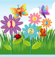 counting numbers with colorful insects vector image