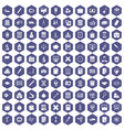 100 calculator icons hexagon purple vector image vector image