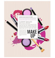 background with cosmetics and make-up vector image vector image