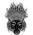 black silhouette indian wolf with feathers hat vector image vector image