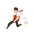 business man runs holding briefcase under arm and vector image