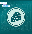 cheese icon on a green background with arrows in vector image vector image