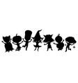 children in costumes for halloween vector image vector image