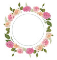 circle with branches leaves and exotic roses vector image vector image